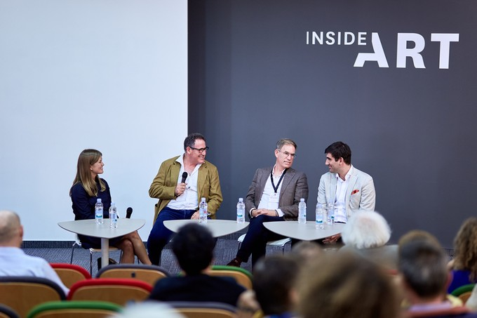 "Serge, Micky, and Omer Tiroche at Art Market Budapest 2018 insider talk ""Art Dynasty"""